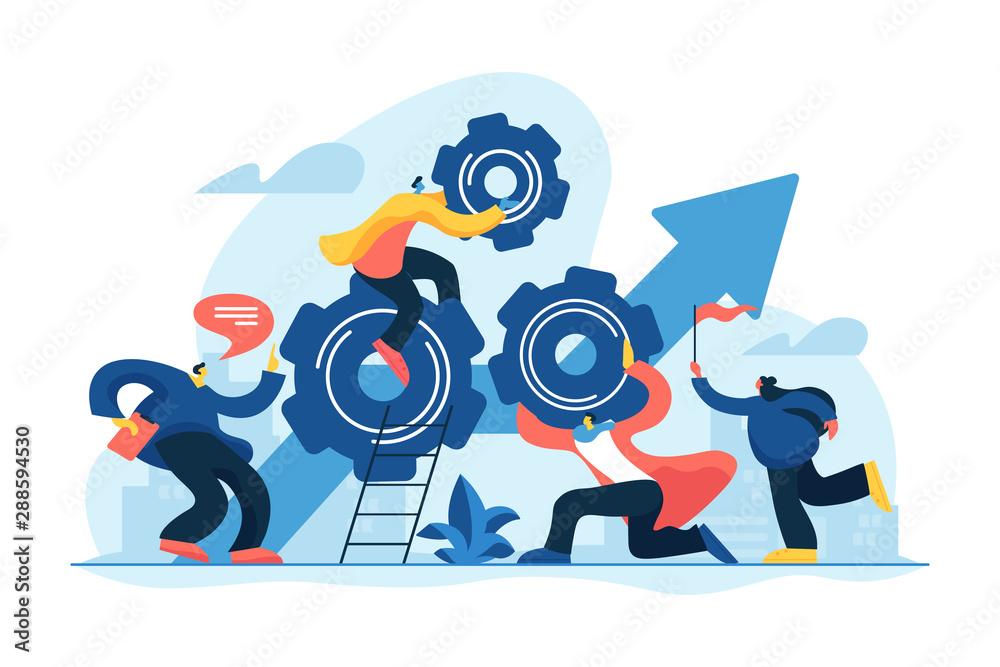Fototapeta Startup work, success. Effective team-working, teamwork projects, teamwork skills, teamwork solutions, effective collaboration, Goal achievement concept. Vector isolated concept creative illustration
