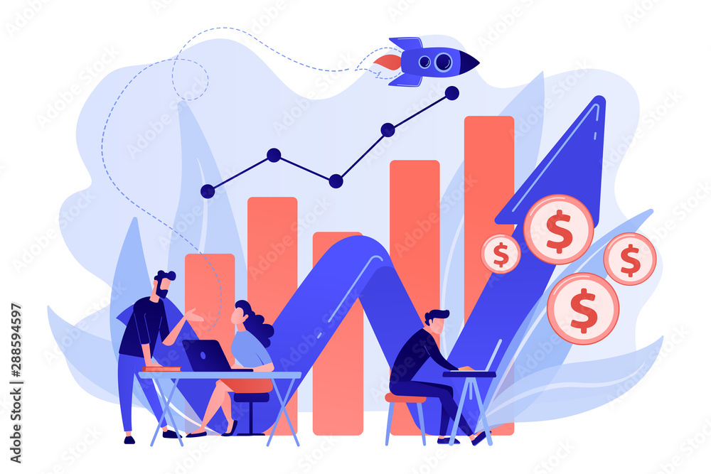 Fototapeta Sales managers with laptops and growth chart. Sales growth and manager, accounting, sales promotion and operations concept on white background. Living coral blue vector isolated illustration