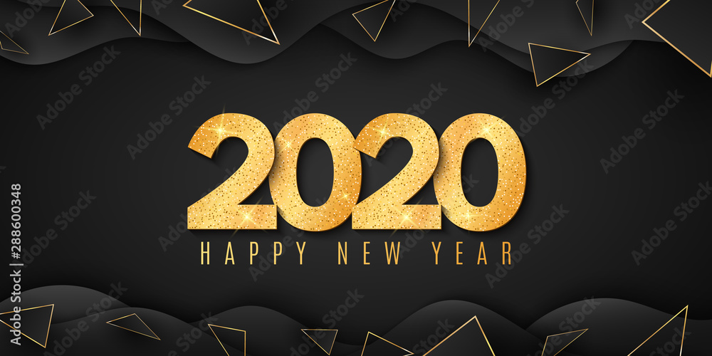Fototapety, obrazy: Abstract banner for Happy new year 2020. Fluid design. Wave shapes with triangles. Gold glitter numbers. Geometric style. Festive cover. Greeting card. Vector illustration