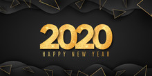 Abstract Banner For Happy New Year 2020. Fluid Design. Wave Shapes With Triangles. Gold Glitter Numbers. Geometric Style. Festive Cover. Greeting Card. Vector Illustration