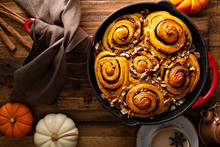 Pumpkin Cinnamon Rolls With Pecan