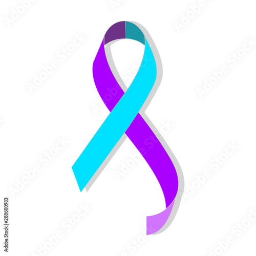 Fotomural Teal purple ribbon for suicide prevention / awareness.