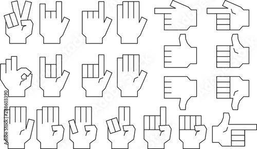 Stampa su Tela Monochrome Illustration of a Squared hand sign set