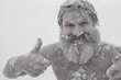 Leinwanddruck Bild - Bearded man, after bathing in the snow