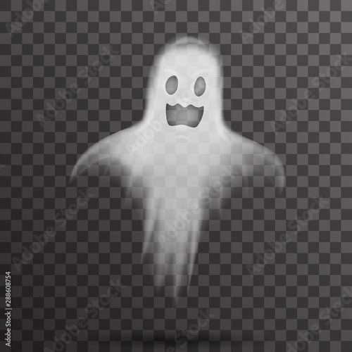 Obraz Happy halloween white scary ghost isolated template transparent night background vector illustration - fototapety do salonu