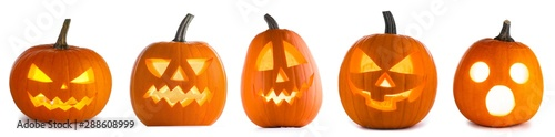 Photo Stands India Halloween Pumpkins on white