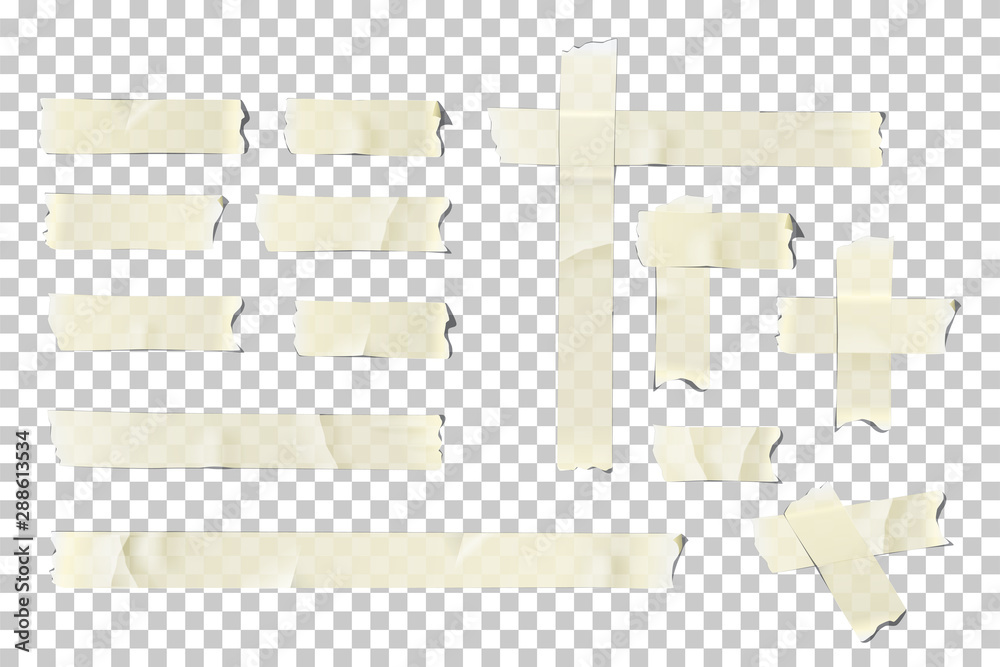 Fototapety, obrazy: Adhesive or masking tape pieces set. Vector torn masking and adhesive tape parts isolated on transparent background.