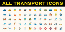 All Transport, Transportation Vector Icons. Logistics, Delivery, Shipping, Railway, Airways, Ambulance, Emergency Car Symbols, Emojis, Emoticons, Flat Illustrations Set, Collection