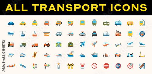 Fotografie, Obraz  All Transport, Transportation Vector Icons