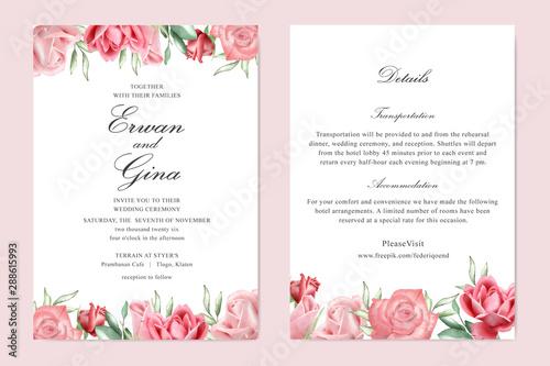 Fototapeta watercolor Floral wedding invitation template card design obraz na płótnie