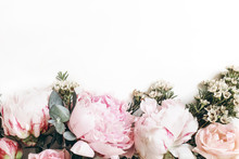 Decorative Web Banner Made Of Beautiful Pink Peonies, Rosies And Eucalyptus Isolated On White Background. Feminine Floral Frame Composition. Styled Stock Photo.Empty Space. Flat Lay, Top View.