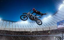 Motofreestyle On Professional Stadium In Night. Fmx. Motocross.