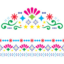 Mexican Vector Design Elements, Colorful Traditional Folk Art Patterns From Mexico, Vibrant Greeting Card On Wedding Party Invitation Ornaments