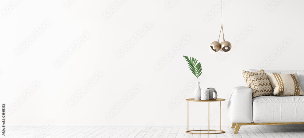 Fototapety, obrazy: Interior of living room with white sofa and coffee table panorama 3d rendering