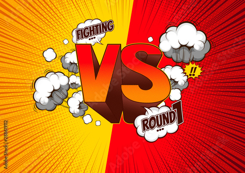 Photo Versus VS, fight battle background comic,  speech bubbles , doodle art, Vector illustration file, you can place relevant content on the area