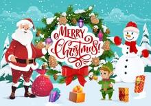 Santa Claus And Snowman, Merry Christmas Greeting
