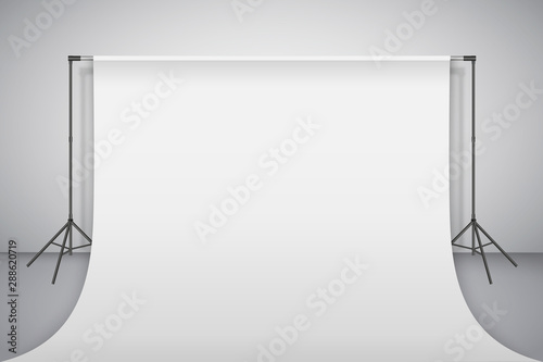 Obraz Empty photo studio. Realistic 3D template mock up. Backdrop stand (tripods) with white paper backdrop. Gray background. Vector illustration. - fototapety do salonu