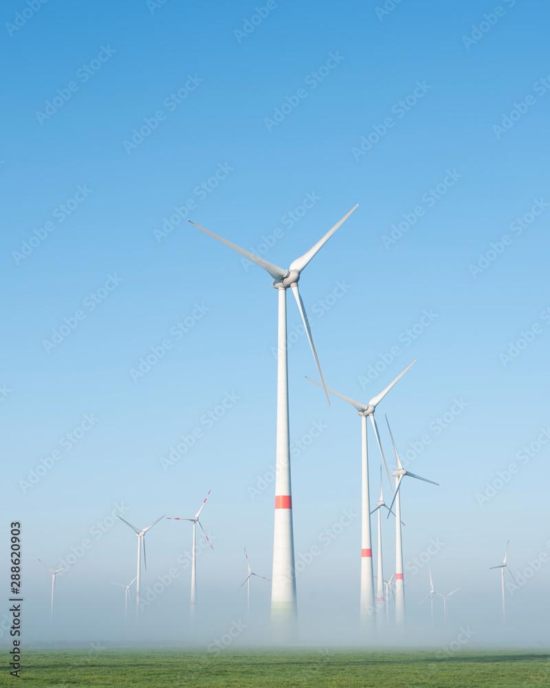 Fototapeta wind turbines in green meadow near aurich in ostfriesland on misty morning in august