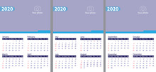Desk Calendar 2020, Design Template, Week Starts On Monday, Spiral Binding, Vector Illustration