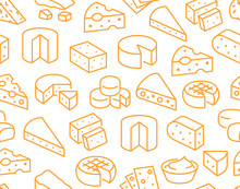 Cheese Seamless Pattern With Flat Line Icons. Vector Background, Illustrations Of Parmesan, Mozzarella, Yogurt, Dutch, Ricotta, Butter, Blue Chees Piece For Dairy Product Store. Orange, White Color