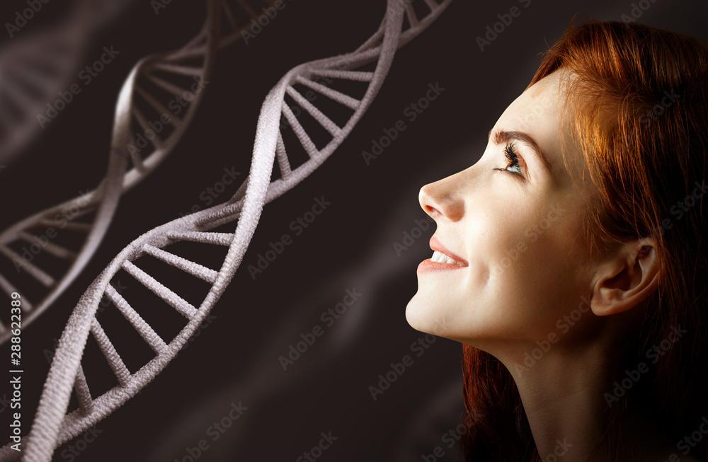 Fototapeta Portrait of sensual redhead woman among white DNA chains.