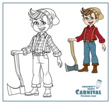 Cute Boy In A Lumberjack Suit With An Ax Clor And Outlined For Coloring Page