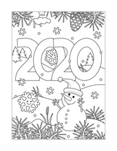 Winter Holidays, New Year Or Christmas Joy Coloring Page With Year 2020 Heading, Winter Outdoor Scene And Little Cute Snowman Wearing Santa Cap