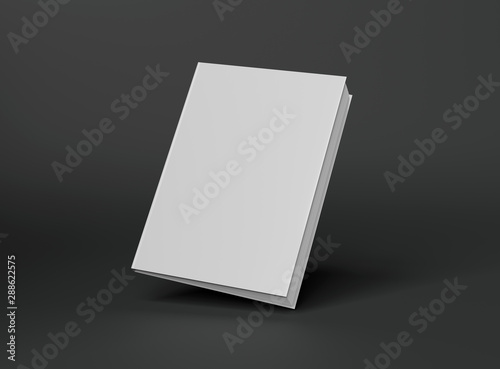 Fotografering  Blank A4 book hardcover mockup floating on grey background 3D rendering