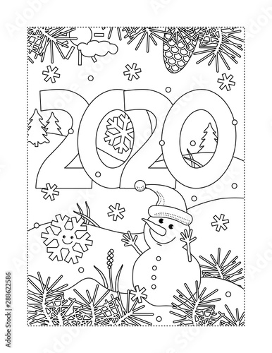 Winter holidays, New Year or Christmas joy coloring page ...