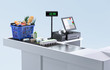 canvas print picture - Supermarket cashier checkout work place with card payment terminal, order screen, shopping market basket with assorted grocery products, fresh food, drinks isolated. Budget planning, money saving. 3D