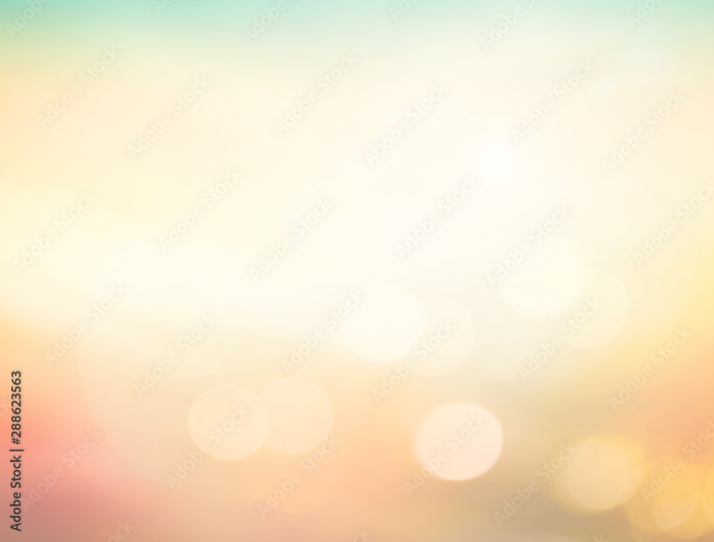 Fototapety, obrazy: Summer holiday concept: Abstract bokeh flare sunlight with blur green and yellow nature sunrise beach background