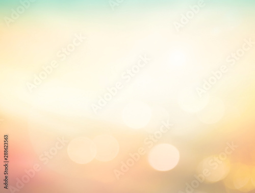 Summer holiday concept: Abstract bokeh flare sunlight with blur green and yellow Fototapet