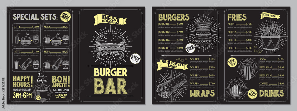 Fototapety, obrazy: Burger bar menu template - A4 card (burgers, wraps, french fries, drinks, sets)