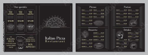 Obraz Italian Pizza restaurant menu - A4 card (pizzas, pastas, desserts, drinks) - fototapety do salonu