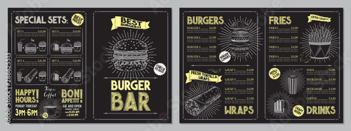 Obraz Burger bar menu template - A4 card (burgers, wraps, french fries, drinks, sets) - fototapety do salonu
