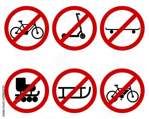 Fotografía  Verkehrsschild Verbot verschiedener Sportarten