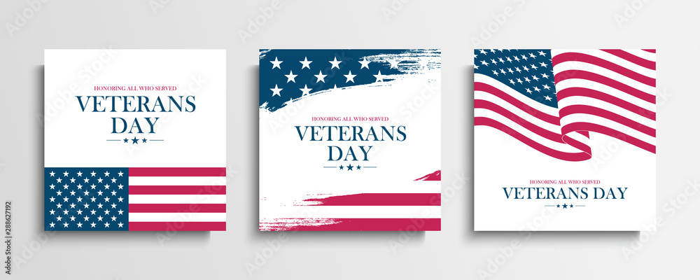 Fototapeta USA Veterans Day greeting cards set with United States national flag. Honoring all who served. United States national holiday vector illustration.