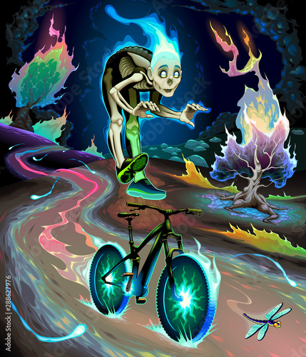 Poster Kinderkamer Ghost boy is riding the bicycle in the fluvial park