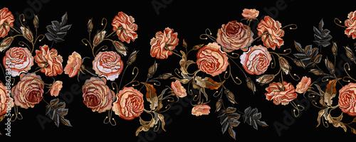 Valokuva Embroidery vintage buds of roses on black background horizontal seamless pattern