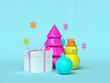 Leinwanddruck Bild blue scene colorful object christmas holiday decoration 3d rendering