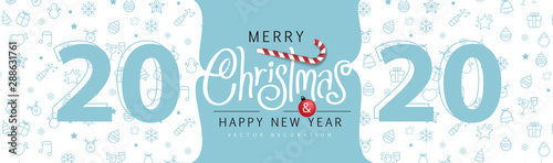 Merry Christmas and Happy New Year background for Greeting cards banner Fotobehang