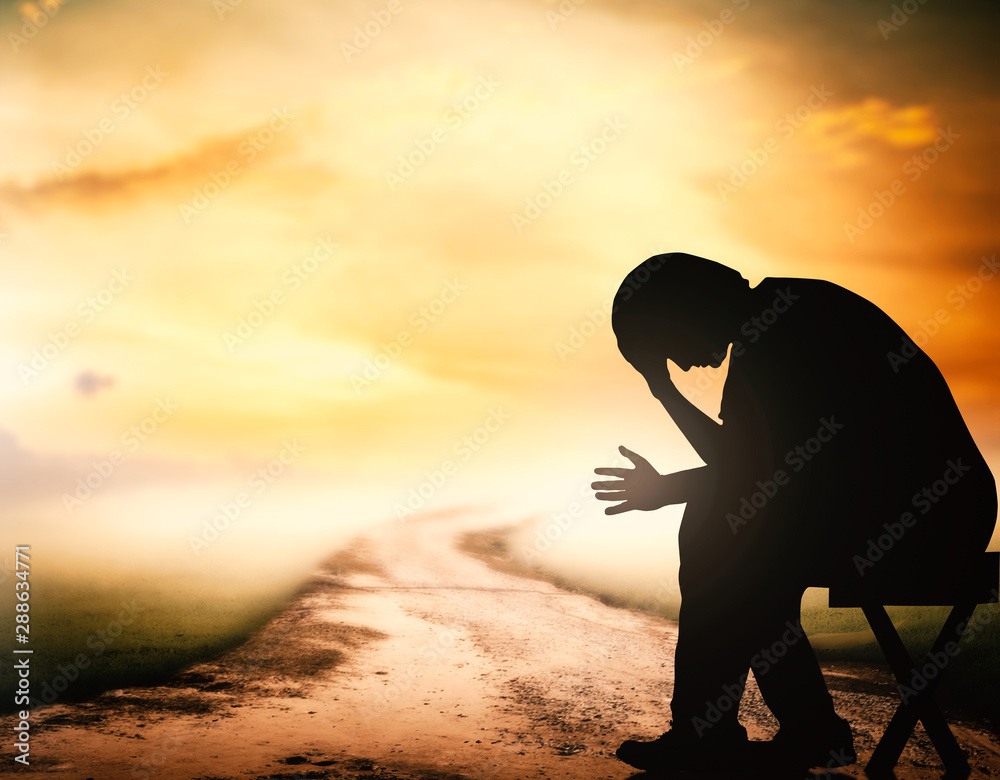 Fototapety, obrazy: Grieving depression concept: Silhouette human sitting on the way over spiritual sunset background