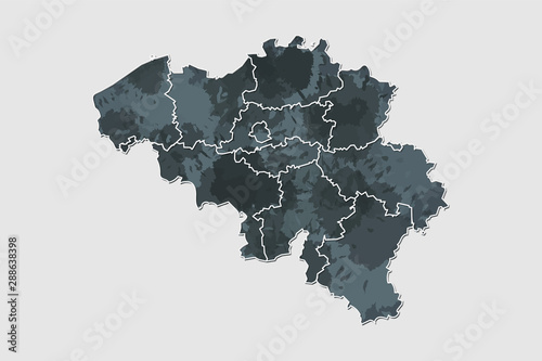 Obraz na plátně Belgium watercolor map vector illustration of black color with border lines of d