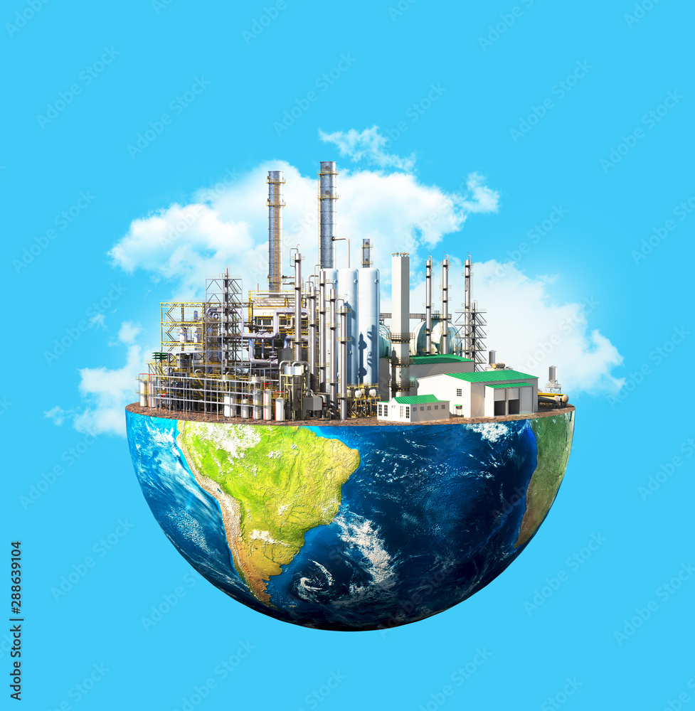 Fototapety, obrazy: Environmental pollution concept. Plant on planet Earth isolated on a blue background. 3d illustration