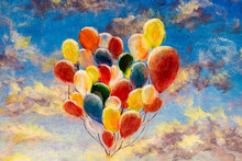 Hand Painted Colorful Balloons Against Blue Sky And Clouds Modern Oil Painting On Canvas Art Artwork