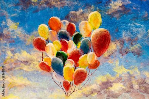 recznie-malowane-kolorowe-balony-przeciw-blekitne-niebo-i-chmury-nowoczesny-obraz-olejny-na-plotnie