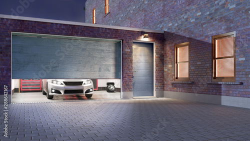Leinwand Poster  Garage entrance with open sectional doors. 3d illustration