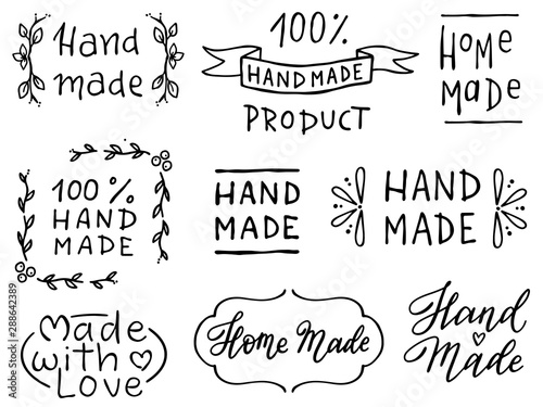 Set of hand drawn simple phrases home made and hand made Canvas Print