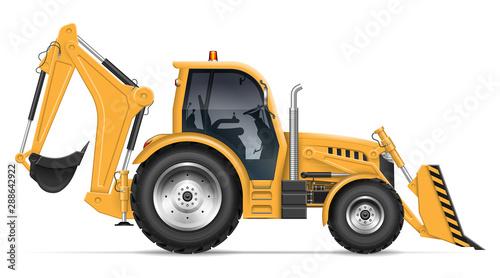 Realistic backhoe loader vector illustration Canvas Print