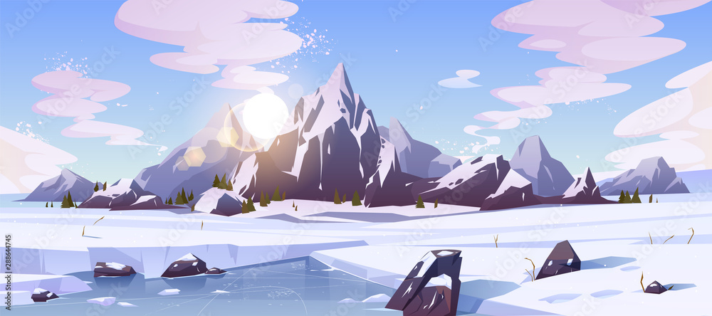 Fototapety, obrazy: Cold winter in Canada, wild northern nature rocky landscape cartoon vector background with morning sun rising over mountains snowy peaks, field of snow, frozen, ice-bound river or lake illustration